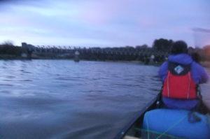 Heading upstream under the bridge at Tal y Cafn